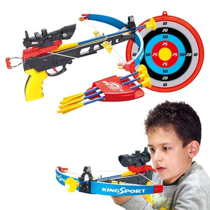 Picture of Kids Crossbow Set With Arrows Target Infrared Toy Gun Archery Shooting Game Boys Red and Black Colour