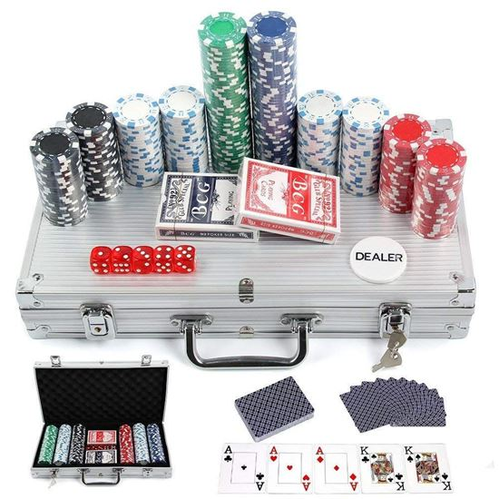 Picture of MultiWare 300 Pcs Poker Chips Sets Casino Game in Aluminium Case With 2 Sets of Playing Cards