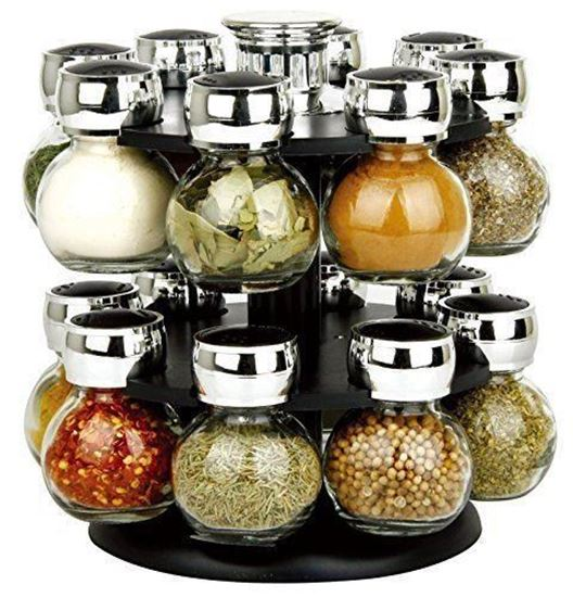 Picture of Stylish Black Two Tier 16 Jar Rotating Revolving Spice Rack Carousel With 16 Spice Jars.