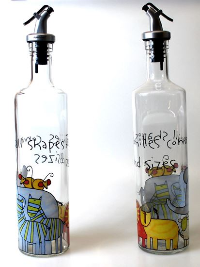 Picture of 2PCS Beautiful Glass Vinegar 500 ml Bottle Oil Container Cruet Oil Bottle