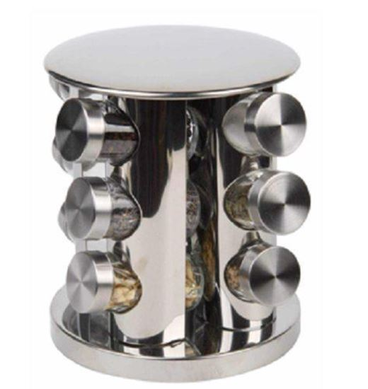 Picture of Spice rack Round 12 Spice Jars Silver Glass Spice Bottle 12 Space Saving Kitchen Storage Seasoning Dry Herb Round 12 Spice Jars Silver