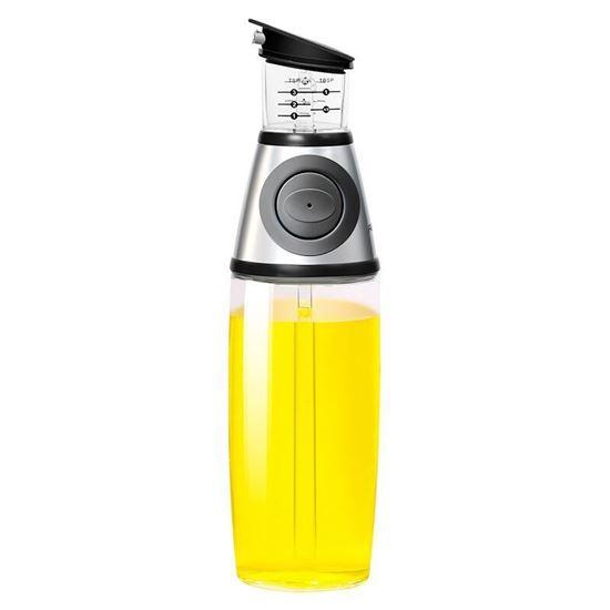 Picture of OIL OR VINEGAR CLEAR PRESS & MEASURE KITCHEN JUG FLASK 500ML BOTTLE DISPENSER SILVER