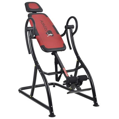 Picture of Kemket Inversion Table with Adjustable Headrest - Back Hang Ups - Max Load 150kg - 180 Max Inversion - Steel Frame - Prevents Back Pain and Muscle Tension - Increases Blood Circulation Red