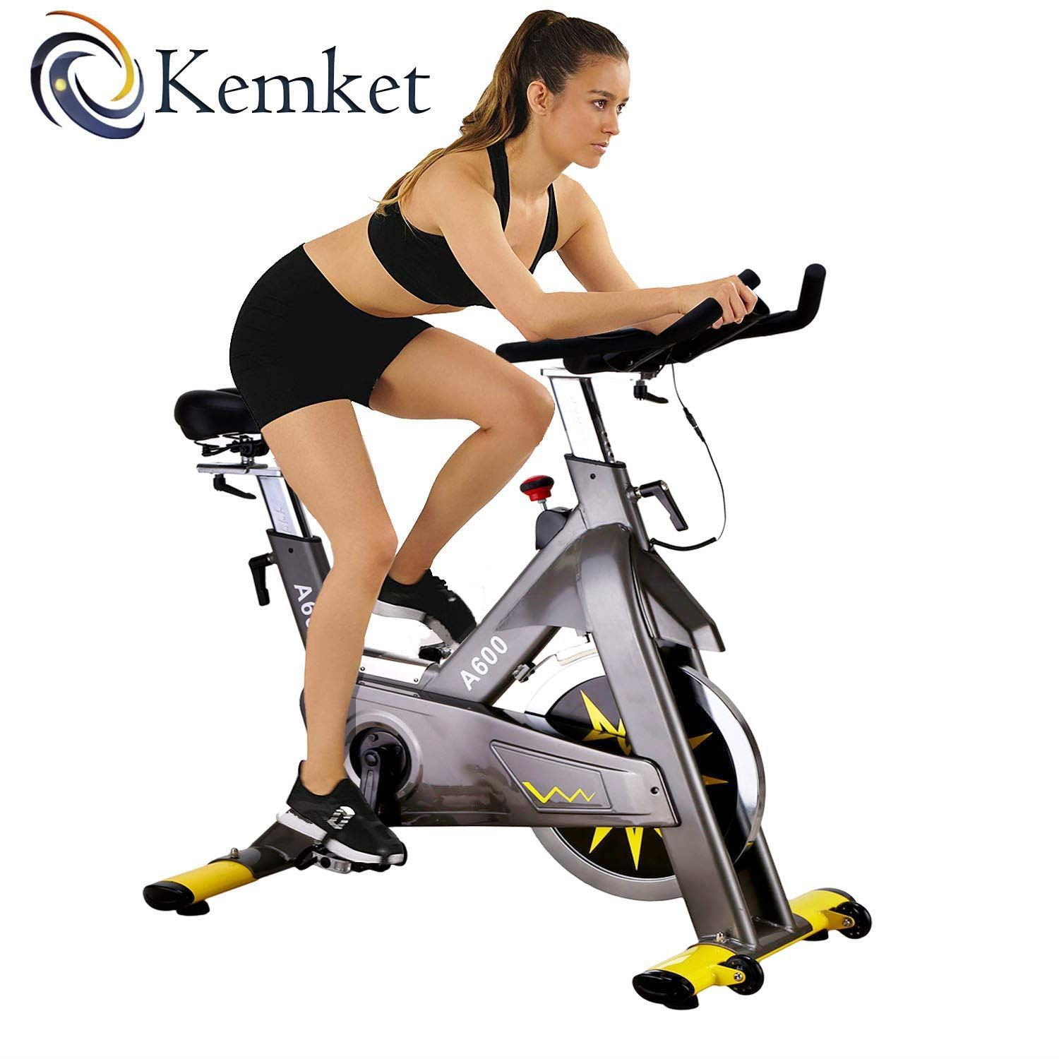 Kemket A600 Indoor Cycling Exercise Commercial Heavy Frame standards Spin Bike,Direct Belt Driven 20kg Flywheel 3-Piece Crank,7-Function Monitor,Heart Rate Sensors 1 YEAR WARRANTY