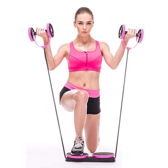 Picture of Multi Function Double Ab Roller Wheel, Abdominal Wheel All in One Core Muscle Roller, Wheel Fitness Abdominal Exercises Equipment Waist Slimming Trainer at Home Gym pink