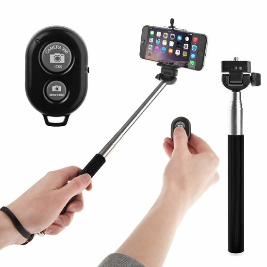 Picture of Selfie Stick Telescopic With Bluetooth Wireless Remote for Smartphone iphone and sumsung Black