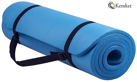 Picture of Kemket Yoga Exercise Fitness Workout Non Slip Mat 10 MM  High Density Anti-Tear Exercise Mat with Carrying Strap blue