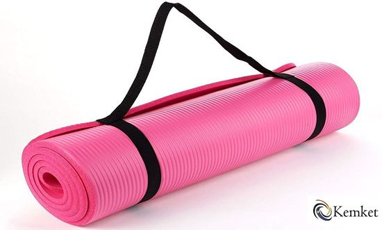 Picture of Kemket Yoga Exercise Fitness Workout Non Slip Mat 10 MM  High Density Anti-Tear Exercise Mat with Carrying Strap pink