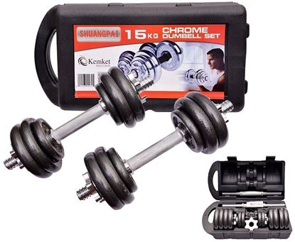 Picture of Kemket Cast Iron Dumbbell Set Adjustable Dumbbell Set Hand Weight with Solid Dumbbell Perfect for Bodybuilding Fitness Weight Lifting Training Home Gym- 15kg