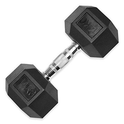 Picture of Rubber Hex Dumbbells  Sold In Single Home Gym Fitness Exercise workout training 14kg