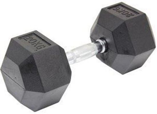 Picture of Rubber Hex Dumbbells  Sold In Single Home Gym Fitness Exercise workout training 20KG