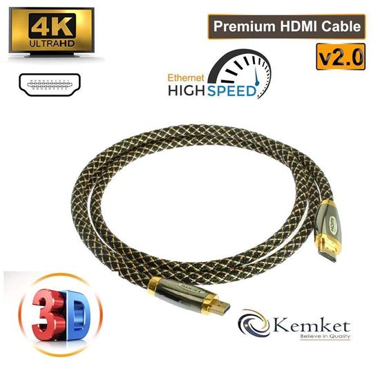 Picture of Kemket HDMI to HDMI Gold Plated Connectors High Speed Gold Premium Quality ZINK HDMI supports all HD ready devices and gadgets in Male to Male Zink HDMI Cable 3 Meter