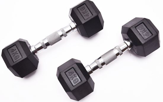 Picture of Kemket Rubber Hex Dumbbells Pair 4kg Home Gym Fitness Exercise workout training 4kg