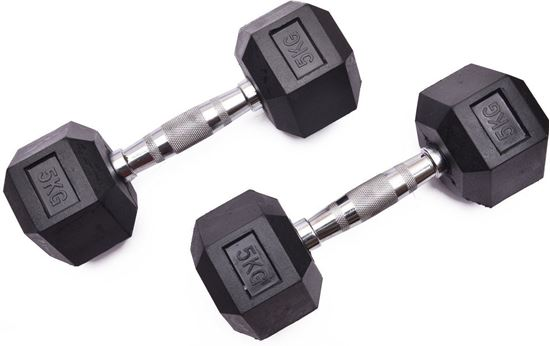 Picture of Kemket Rubber Hex Dumbbells Pair - 5kg Home Gym Fitness Exercise workout training 5kg
