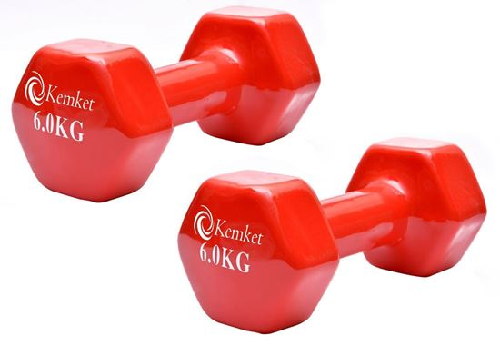 Picture of Kemket Vinyl Coated Dumbbells Set of 2 - 6kg Home Gym Fitness Exercise Biceps Weight Training 6Kg