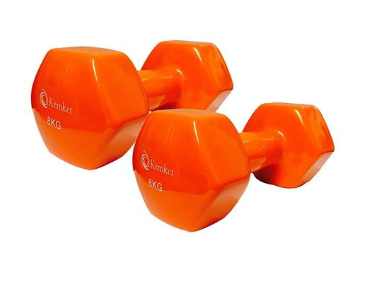 Picture of Kemket Vinyl Coated Dumbbells Set of 2 - 8kg Home Gym Fitness Exercise Biceps Weight Training 8kg