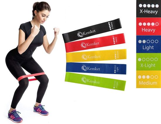 Picture of Kemket Resistance Bands, 5pc Set Skin-Friendly Resistance Fitness Exercise Loop Bands with 5 Different Resistance Levels - Free Carrying Case Included - Ideal for Home, Gym, Yoga, Training