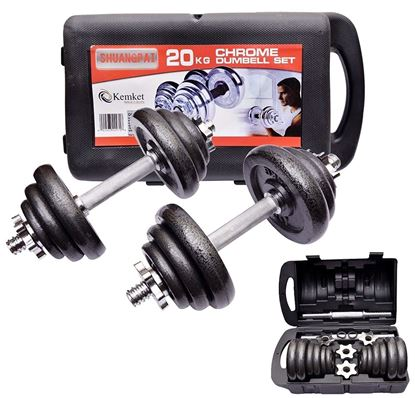 Picture of Kemket Cast Iron Dumbbell Set Adjustable Dumbbell Set Hand Weight with Solid Dumbbell Perfect for Bodybuilding Fitness Weight Lifting Training Home Gym- 20 Kg
