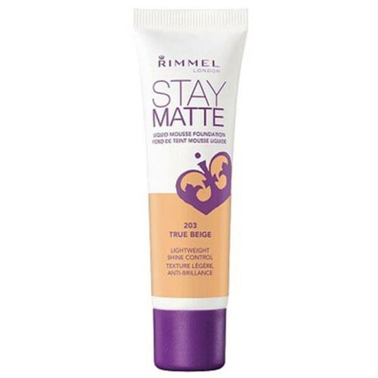 Picture of RIMMEL LONDON STAY MATTE LIQUID MOUSSE FOUNDATION -30ML TRUE BEIGE 203