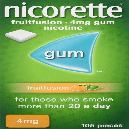 Picture of Nicorette Fruit Fusion Chewing Gum, 4 mg, 105 Pieces (Stop Smoking Aid)