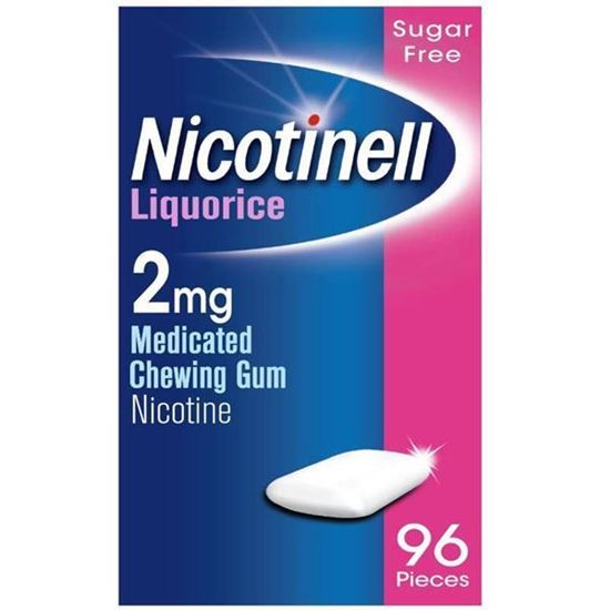 Picture of Nicotinell Nicotine Gum, Quit Smoking Aid, Liquorice Flavour, 2 mg, 96 Pieces