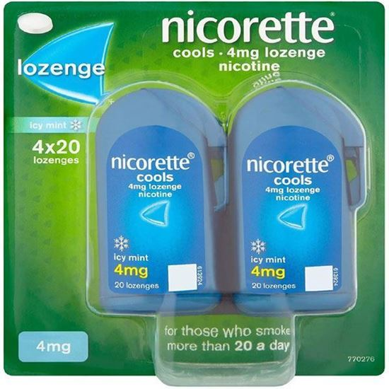 Picture of Nicorette Cools Icy Mint 4mg Nicotine 4 x 20 (80) Lozenges
