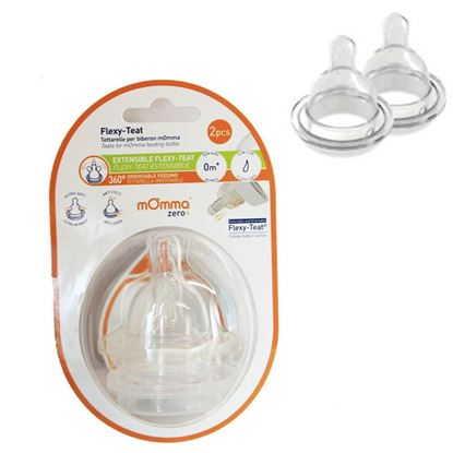 Picture of 2 X mOmma Teat Anti-colic Flexy Bottle Teats Slow Flow for 0m Born Flex