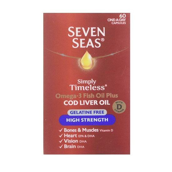 Picture of Seven Seas Cod Liver Oil Plus Omega-3 Fish Oil High Strength Gelatine Free 60's