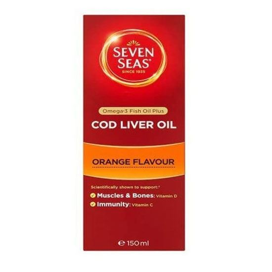 Picture of Seven Seas Orange Syrup and Cod Liver Oil with Vitamins D C + E 150ml