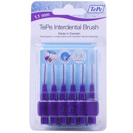 Picture of TePe Interdental Brushes 1.1mm Purple (6 brushes Per Pack)