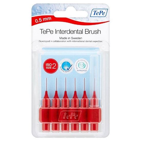 Picture of Tepe Interdental Brush Red 0.5mm (6 brushes Per Pack)