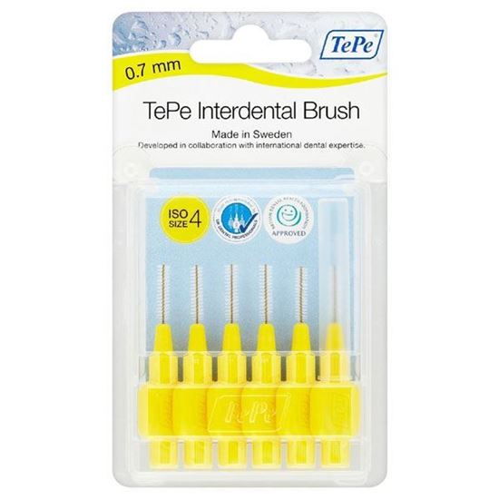 Picture of TePe Interdental Brush 0.7mm Yellow (6 brushes Per Pack)