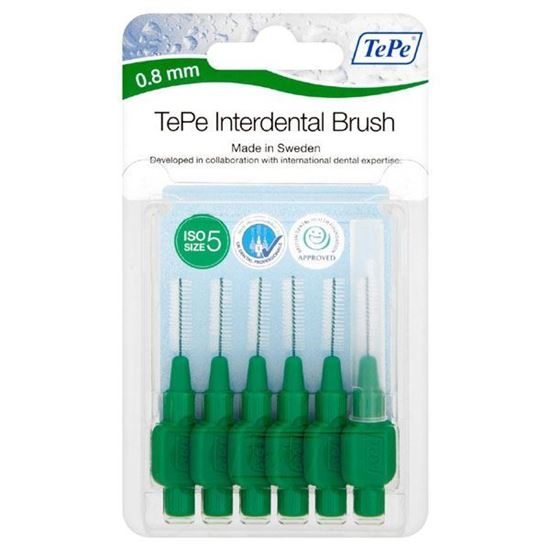 Picture of TePe Interdental Brushes 0.8mm Green (6 brushes Per Pack)