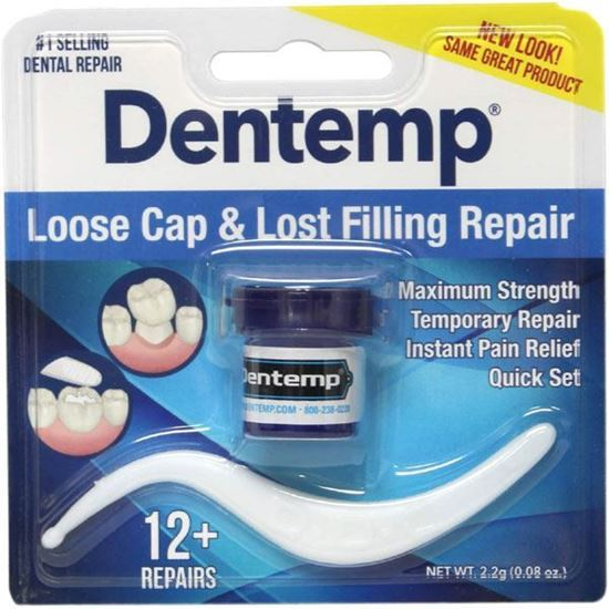 Picture of Dentemp Maximum Strength Lost Fillings and Loose Caps Repair, Instant Pain Relief, Dentist Used and Recommended, 12 uses, 0.07 Ounce