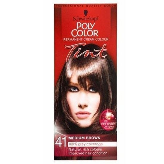 Picture of SCHWARZKOPF POLY COLOR TINT 41 MEDIUM BROWN PERMANENT CREAM COLOUR