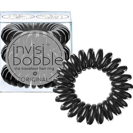 Picture of Invisibobble ORIGINAL Hair Ties, True Black, 3 Pack - Traceless, Strong Hold, Waterproof - Suitable for All Hair Types