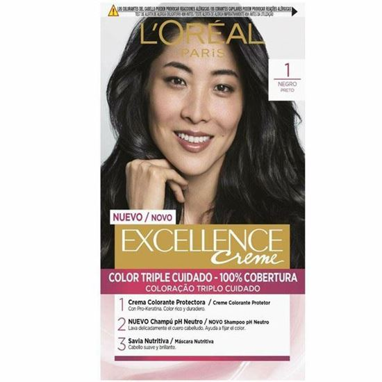 Picture of L'oreal Paris Excellence Creme 1 Black Advanced Triple Care Colour FREE P&P